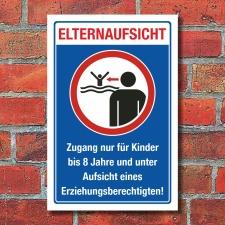 Schild Elternaufsicht Hallenbad Freibad Kinder Gefahr Hinweis 3 mm Alu-Verbund