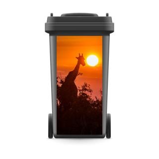 Mülltonnenaufkleber Mülltonne Abfalltonne Sticker Giraffe Sonne Afrika Sahara