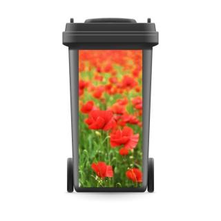 Mülltonnenaufkleber Mülltonne Mülleimer Abfalltonne Sticker Mohn Blumen
