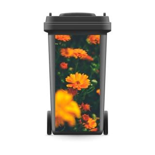 Mülltonnenaufkleber Mülltonne Mülleimer Abfalltonne Sticker Ringelblume Pflanzen