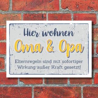 Schild Haustürschild Oma Opa Großeltern Geschenk Geburtstag 3 mm Alu-Verbund