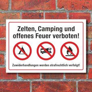 Schild Zelten Camping Feuer verboten Wohnmobil Wohnwagen 3 mm Alu-Verbund