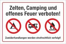 Schild Zelten Camping Feuer verboten Wohnmobil Wohnwagen...
