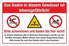 Schild Lebensgefahr Baden Schwimmen verboten...