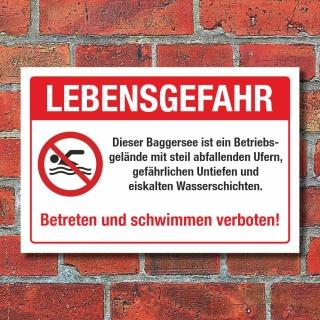Schild Lebensgefahr Baggersee Abfallende Ufer Schwimmen verboten Alu-Verbund