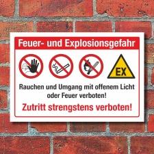 Schild Feuer Explosionsgefahr Rauchen verboten Zutritt...