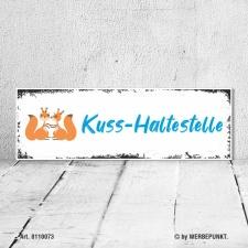 Vintage Holzschild Wandschild Kuss Haltestelle Geburtstag...