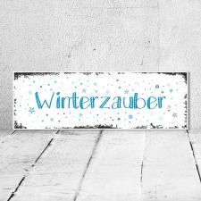 Vintage Shabby Holzschild Winterzauber Winter Jahreszeit...