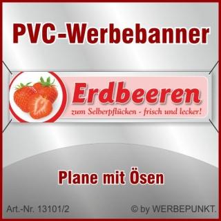 """PVC-Werbebanner """"Erdbeeren 1"""", 200x50 cm mit Ösen"""
