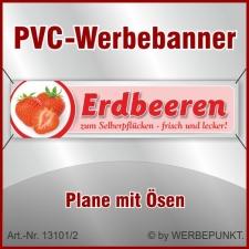 """PVC-Werbebanner """"Erdbeeren 1"""", 400x100 cm mit..."""