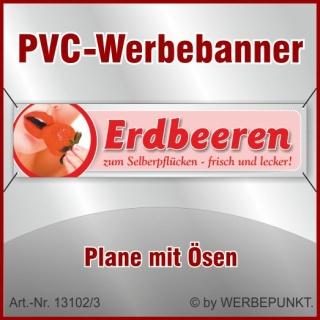 """PVC-Werbebanner /""""Erdbeeren 2/"""" 200x50 cm mit Ösen"""