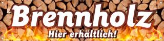 "PVC-Werbebanner Plane ""Brennholz"" Kaminholz Ofen, 200x50 cm mit Ösen"