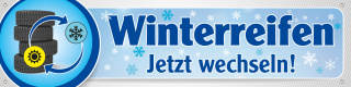 PVC-Werbebanner Banner Plane Winterreifen Reifenwechsel 400x100 cm mit Ösen