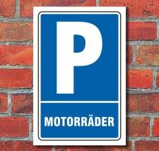 Schild Parken, Parkplatz, Motorräder, 3 mm...