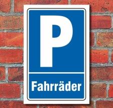 Schild Parken, Parkplatz, Fahrräder, 3 mm...