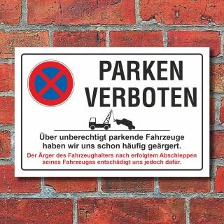 Schild Parkverbot, Halteverbot, Ausfahrt, ärgern, 3 mm Alu-Verbund