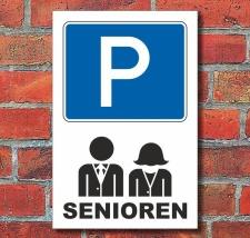 Schild Parkplatz, Senioren, 3 mm Alu-Verbund