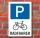 Schild Parkplatz, Radfahrer, 3 mm Alu-Verbund