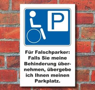 Schild Parkplatz, Behindertenparkplatz, Falschparker 3 mm Alu-Verbund