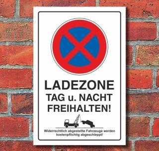 Schild Parkverbot, Halteverbot, Ladezone bitte freihalten, 3 mm Alu, Hochkant