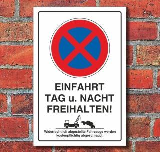 Schild Parkverbot, Halteverbot, Freihalten, Hochkant, Aluverbund