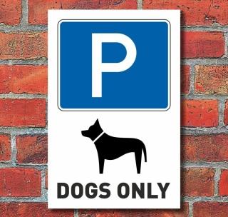 Schild Hundeparkplatz, Hund parken, Dogs only, Aluverbund hochkant
