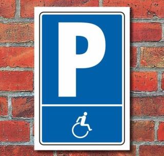 Schild Parken, Parkplatz, Behindertenparkplatz Symbol, 3 mm Alu-Verbund 300 x 200 mm