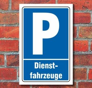Schild Parken, Parkplatz, Dienstfahrzeuge, 3 mm Alu-Verbund