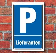 Schild Parken, Parkplatz, Lieferanten, 3 mm Alu-Verbund