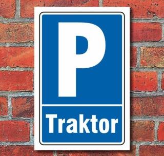 Schild Parken, Parkplatz, Traktor, 3 mm Alu-Verbund