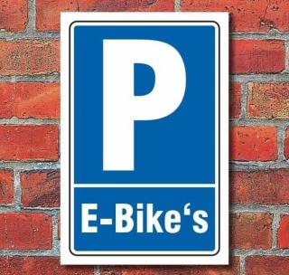 Schild Parken, Parkplatz, E-Bikes, 3 mm Alu-Verbund