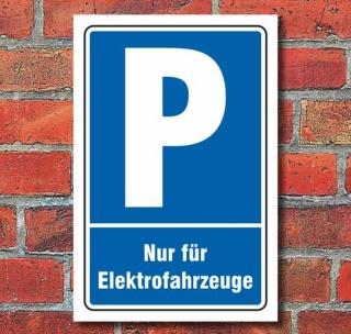 Schild Parken, Parkplatz, Nur für Elektrofahrzeuge, 3 mm Alu-Verbund